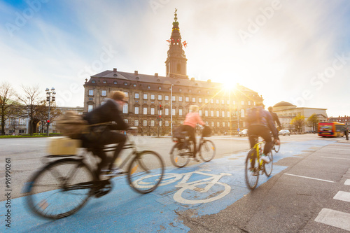 People going by bike in Copenhagen