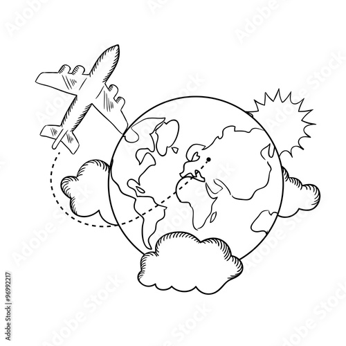 Papiers peints Cartoon draw Air travel around the earth, sketch