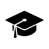 Graduation hat cap flat icon for apps and websites