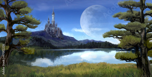 Fantasy riverside lake forest landscape with ancient castle on hill mountain background and blue sky with giant moon scene with fairy tale myth Plakát