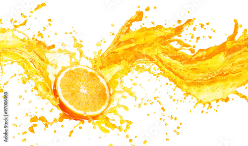 Orange juice splashing with its fruits isolated on white - 97006460