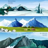 Fototapety Mountain Landscapes Banner Set