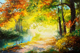Fototapeta Oil painting landscape - colorful autumn forest