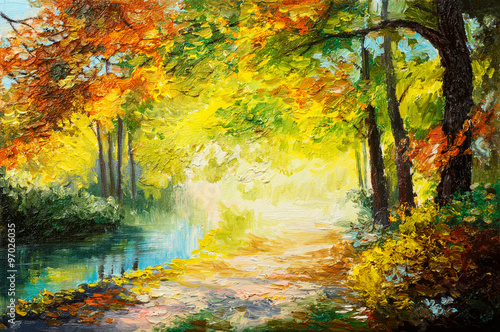 Oil painting landscape - colorful autumn forest
