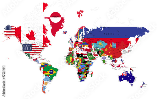 Political world map with country flags.