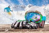 Fototapety Colorful ski glasses, gloves and helmet
