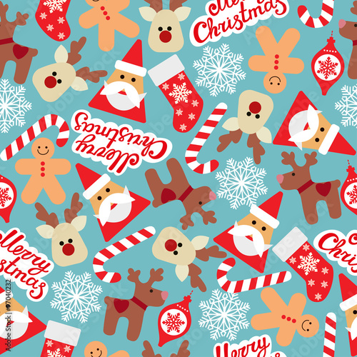 Materiał do szycia Vector seamless flat pattern with icons of Happy New Year and Christmas Day