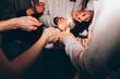 Obrazy na płótnie, fototapety, zdjęcia, fotoobrazy drukowane : Friends celebrating new year's eve with sparklers