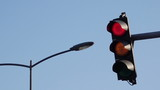 Traffic light signalization or semaphore turning from red to green