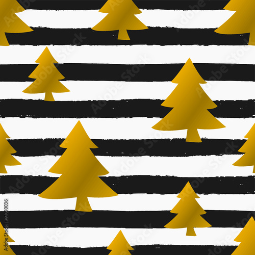 Cotton fabric Christmas Trees and Stripes Seamless Pattern