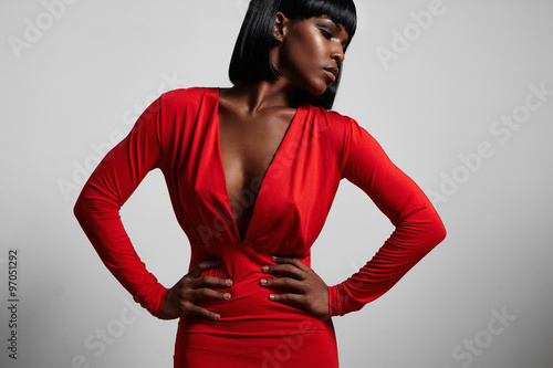 Poster black woman wearing red dres and short hair