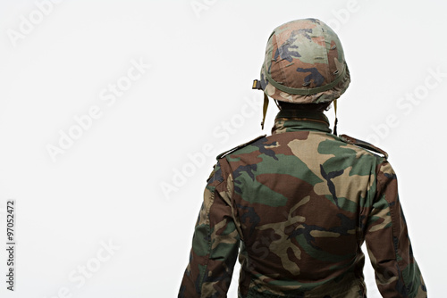 Rear view of soldier Poster