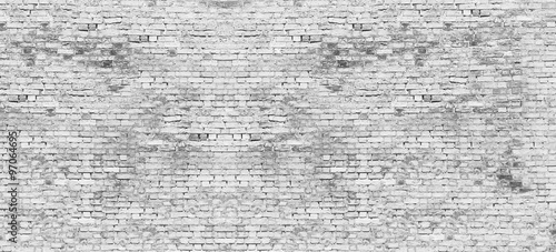 Fototapeta Long white brick wall