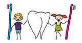 Gesundheit - Zahnpflege bei Kindern, Junge und Mädchen mit Zahnbürsten und Zahn, Zähne putzen