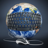 Black keyboard wrapped on the earth