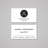 Fototapety Barbershop business card design concept. Barbershop logo with scissors and badge. Vintage, hipster and retro style. Black and white. Hair salon business card.