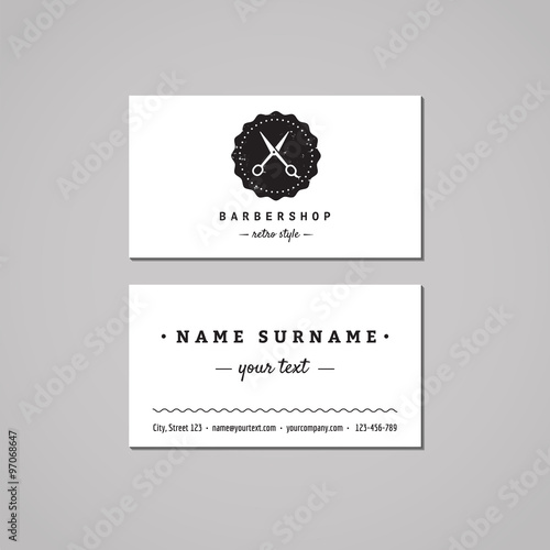 Barber Business Card Design Concept Logo With Scissors And Badge Vintage Hipster