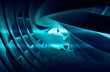 Abstract background with shining dark blue 3d spiral