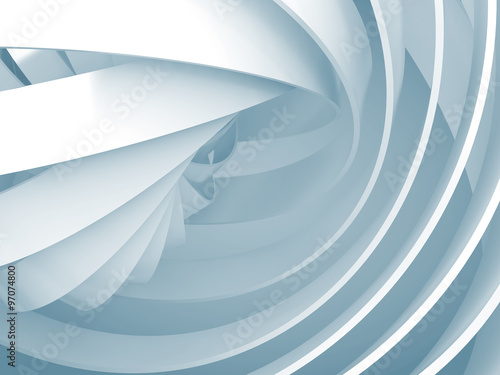 Fototapeta Abstract background with light blue 3d spiral structures