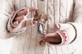 Manos con guantes de una chica sosteniendo un arreglo navideño que es el el ángel que guia a Belén