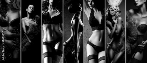 Black and white collage. Sexy women posing in beautiful lingerie over vintage background.