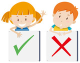 Fototapety Girl with right sign and boy with wrong sign