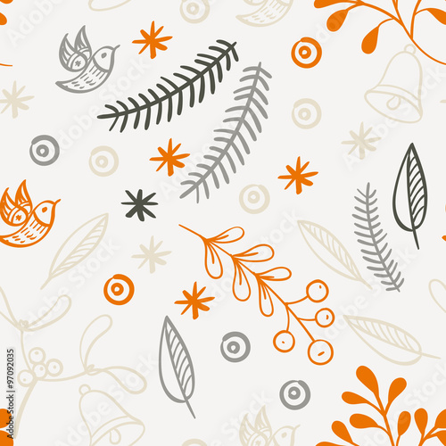Cotton fabric Retro hand drawn winter holidays seamless patterns
