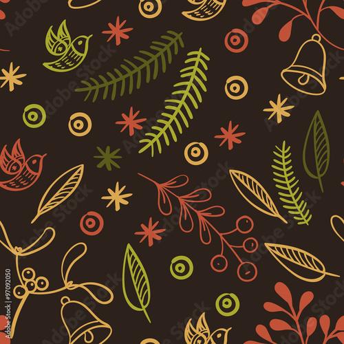 Cotton fabric Retro hand drawn winter holidays seamless patterns