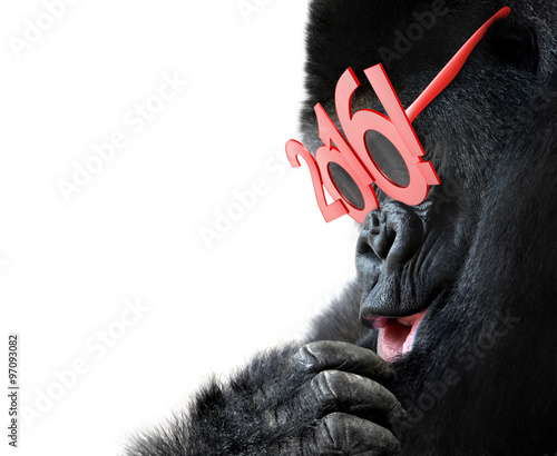 Foto op Canvas Aap Gorilla with big red 2016 New Years glasses celebrating Year of the Monkey