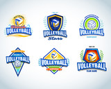 Fototapety Volleyball logo templates set. Volleyball emblem, logotype template, t-shirt apparel design. Volleyball ball. Sport team badge for tournament or championship. Vector set.