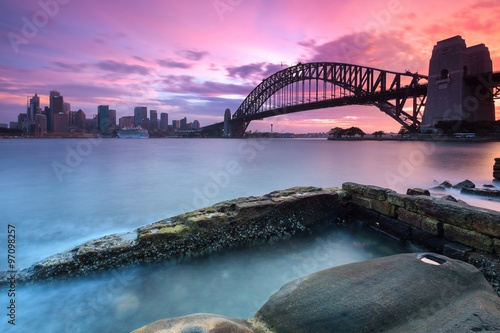 Poster Sydney cityscape view at sunset