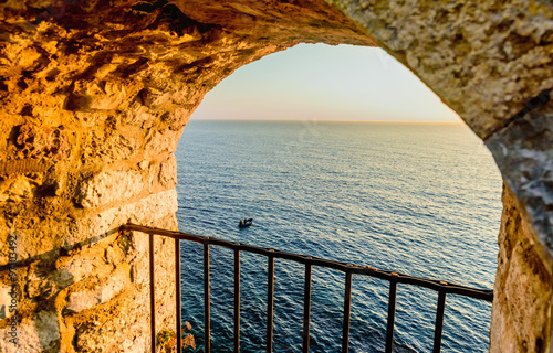 Naklejka View on the sea from the fortress window in old town Ulcinj, Mon