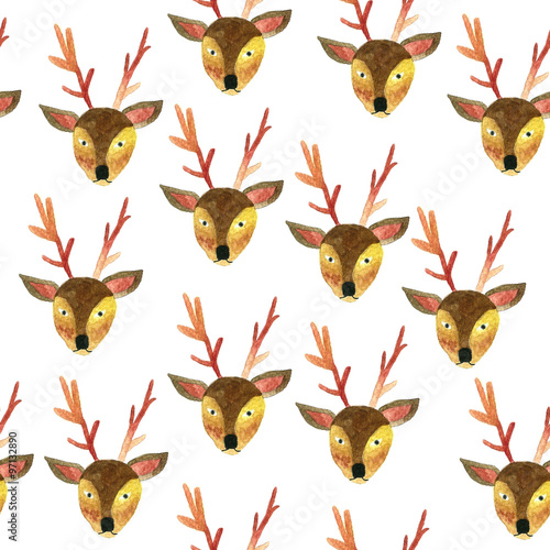 Cotton fabric Deer Pattern Seamless Watercolor-01.jpg