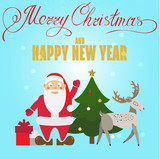 Christmas poster design with Santa Claus, deer, Christmas tree a