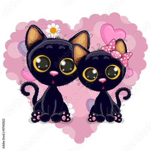 fototapeta na ścianę Two Black Kittens