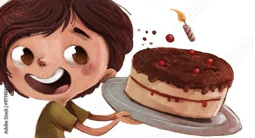 chłopiec z ciastem