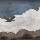 sky with bird and clouds design on wood grain texture