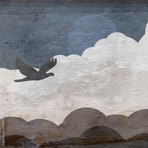 sky with bird and clouds design on wood grain texture - 97154006