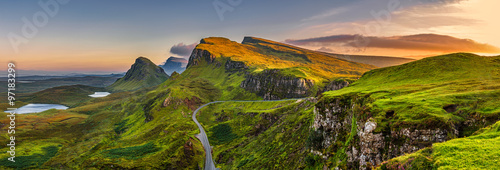 Poster Quiraing mountains sunset at Isle of Skye, Scottland, United Kingdom
