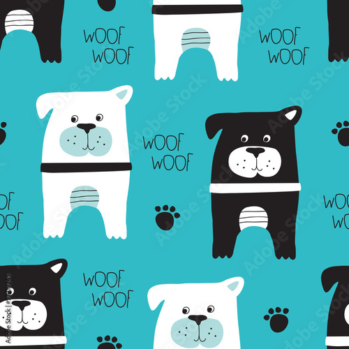 seamless turquoise dog pattern vector illustration