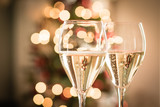 Glasses of sparkling white wine for Christmas and new year festivities