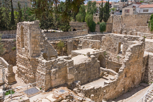 Ancient Pool of Bethesda ruins. Old City of Jerusalem, Israel. Poster
