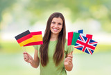 Fototapety  Student Female with International Flags