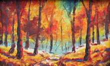 "Постер, картина, фотообои ""forest strewn with yellow leaves."""