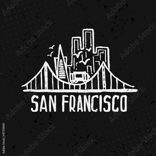 Poster Skyline of San Francisco in watercolor. Vector