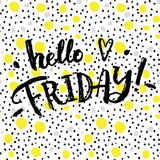 Fototapety Hello friday!  Creative calligraphic card.