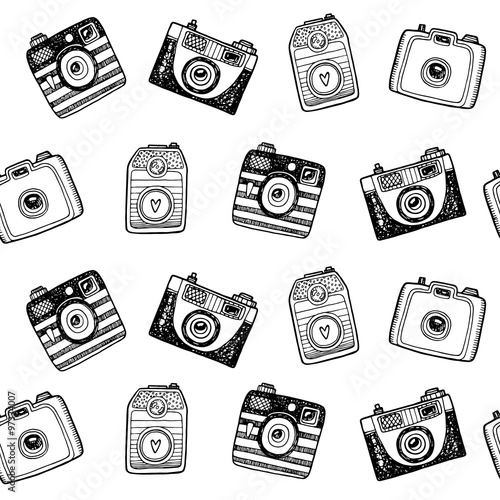 Seamless pattern with hand drawn retro cameras - 97334007