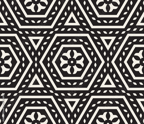 Vector Seamless Black and White Rounded Floral Oriental Hexagonal Pattern - 97336457