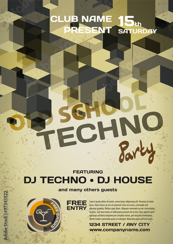 Fotobehang Muziek Vector night party invitation techno style. Vector template grap