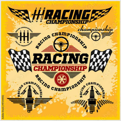 Naklejka Car racing emblems and championship race vector badges